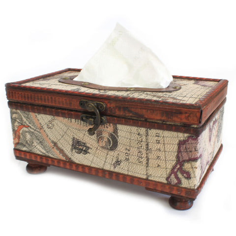 Tissue Box with Legs ~ Old Map