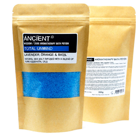 Aromatherapy Bath Salts in Kraft Bag 350g, with Essential Oils ~ Choice of 8 varieties