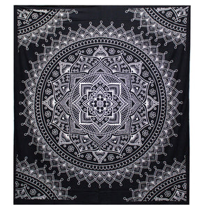 Black & White Hand Printed Double Cotton Bedspread or Wall Hanging - Lotus Flower