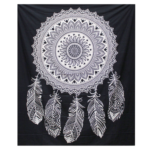 Black & White Hand Printed Double Cotton Bedspread or Wall Hanging - Dreamcatcher