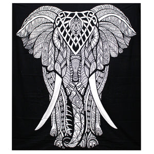 Black & White Hand Printed Double Cotton Bedspread or Wall Hanging - Elephant