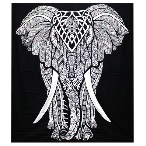 Black & White Hand Printed Double Cotton Bedspread or Wall Hanging - Elephant ~ Sold out