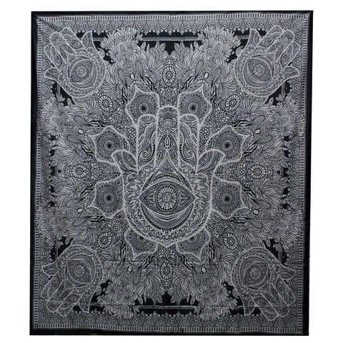 Black & White Hand Printed Double Cotton Bedspread or Wall Hanging - Hamsa