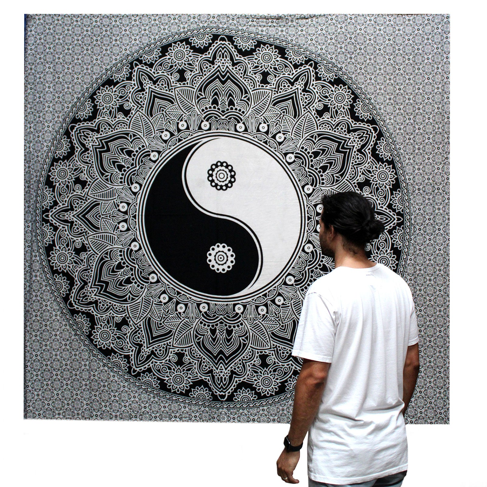 Black & White Hand Printed Double Cotton Bedspread or Wall Hanging - Ying Yang