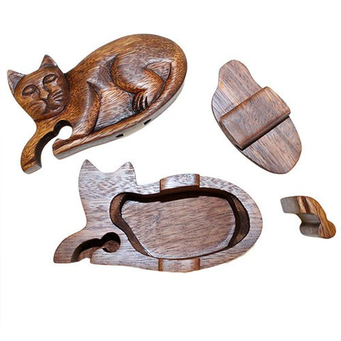 Wooden Bali Puzzle Box - Cat.  Hand Made from Sheesham Wood.  Size approx: External: L60 mm H110 mm Internal L60 mm H20 mm