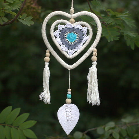 Dream Catcher - Medium Blue Heart in a Heart - Vegan Friendly.