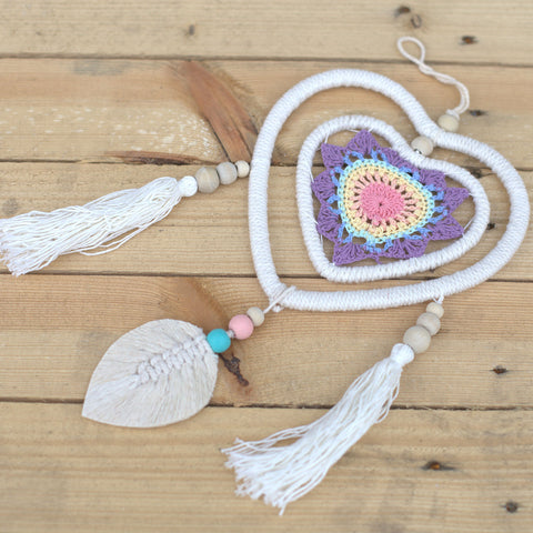 Dream Catcher - Medium Multi Heart in a Heart - Vegan Friendly.