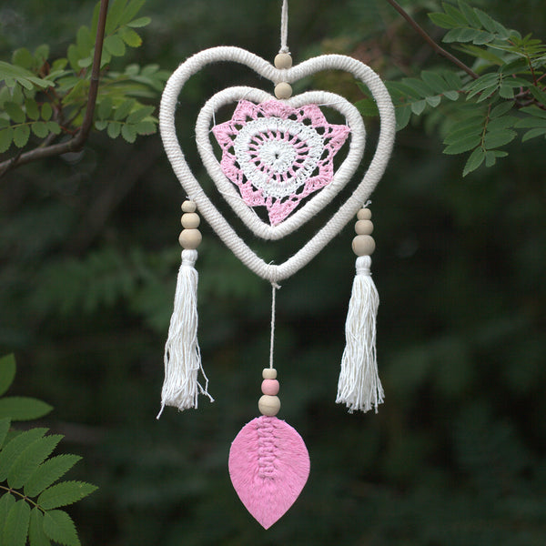 Dream Catcher - Medium size, Pink Heart in a Heart - Vegan Friendly.