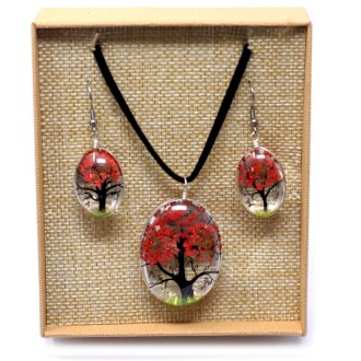 Real Pressed Flowers - Tree of Life Necklace & Earrings set in Gift Box - Coral