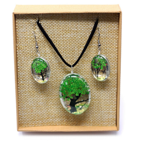 Real Pressed Flowers - Tree of Life Necklace & Earrings set in Gift Box - Green
