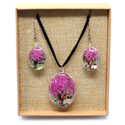 Real Pressed Flowers - Tree of Life Necklace & Earrings set in Gift Box - Bright Pink