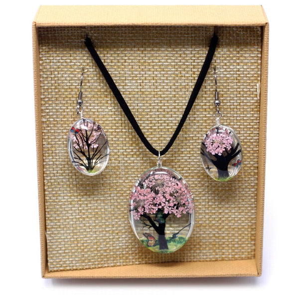 Tree of Life Necklace & Earrings set in Gift Box - Pale Pink