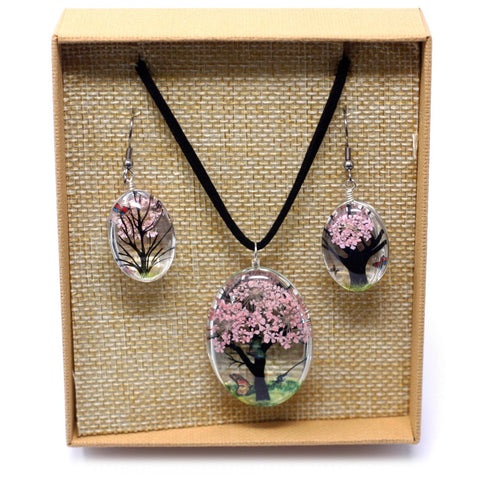 Real Pressed Flowers - Tree of Life Necklace & Earrings set in Gift Box - Pale Pink