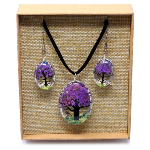Real Pressed Flowers - Tree of Life Necklace & Earrings set in Gift Box - Purple Lavender