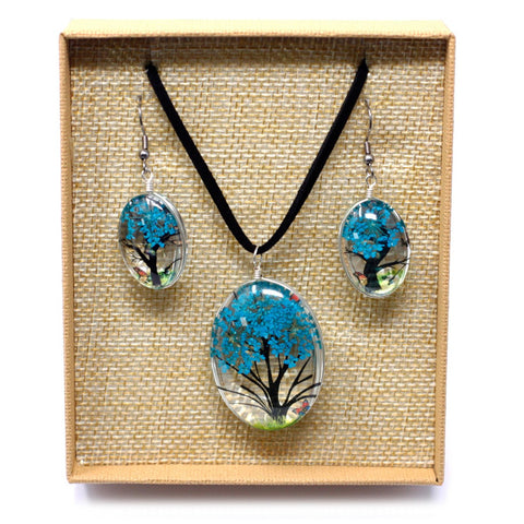 Real Pressed Flowers - Tree of Life Necklace & Earrings set in Gift Box - Teal Blue
