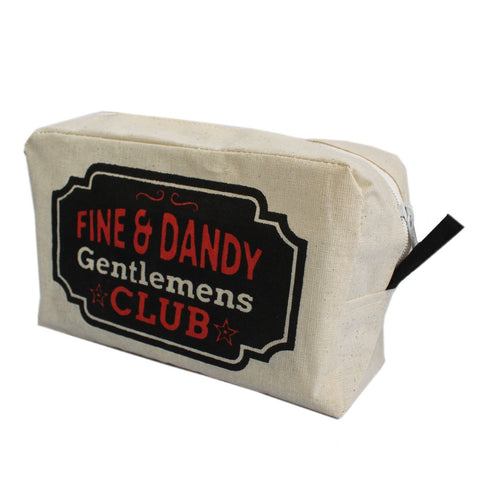 Organic Cotton Toiletry Bag ~ Gentlemens Club ~ 8 x 20 x 11 cm