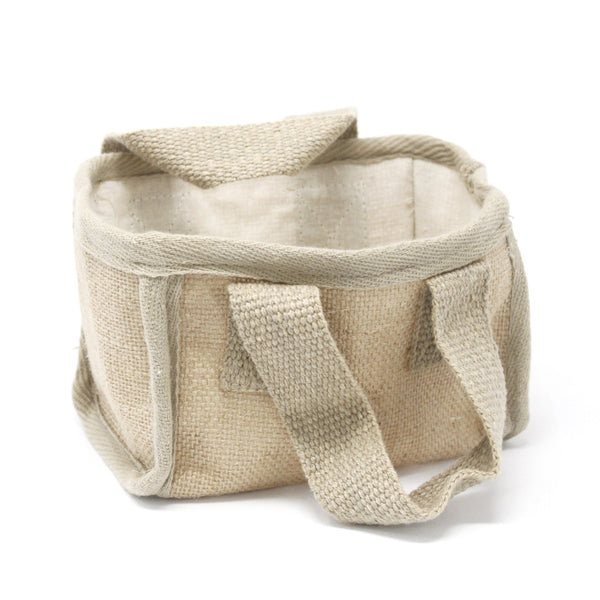Bag or Basket ~ Jute & Cotton ~ Storage Basket or Gift Bag.  Colour: Natural
