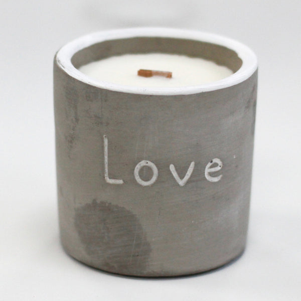 Candle in Pot:  Wooden Wick & Concrete - 30 hours burn time.