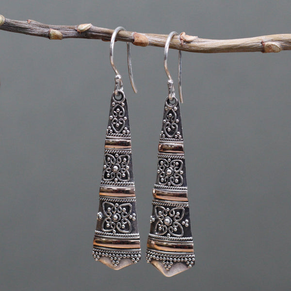 Handmade & Ethically sourced. Silver 925 & 18k Gold. Earrings ~Tribal