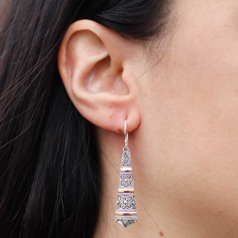 Handmade & Ethically sourced. Silver 925 & 18k Gold. Earrings ~ Tribal Drops