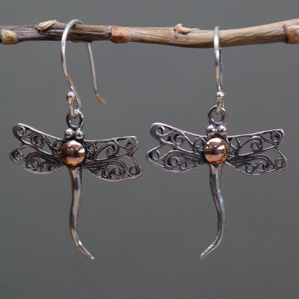 Handmade & Ethically sourced. Silver 925 & 18k Gold. Earrings ~ Dragonflies