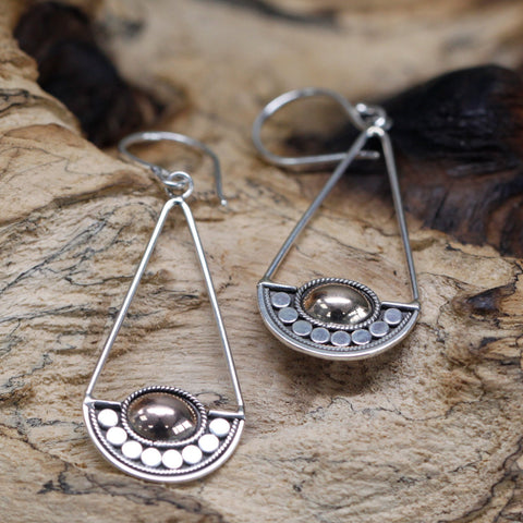 Handmade & Ethically sourced. Silver 925 & 18k Gold. Earrings ~  Luna Balance