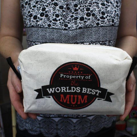 Organic Cotton Toiletry Bag ~ Worlds Best Mum ~ 8 x 20 x 11 cm