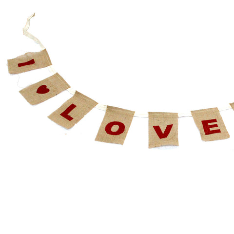 "Eco Friendly Jute Bunting ""I Love You"" ~ Bunting 10cmx15cm, Length 260cm"