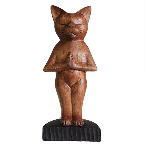 Wooden, Handcarved Yoga Cat - Standing.  Made from suar wood, Dimensions: H: 30cm, W: 12cm D: 7 cm