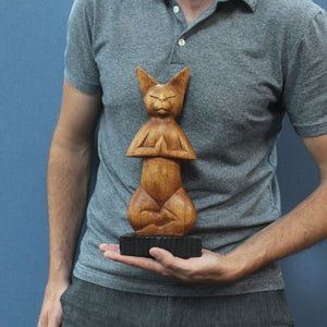Wooden, Hand-carved Yoga Cat - Lotus Position.