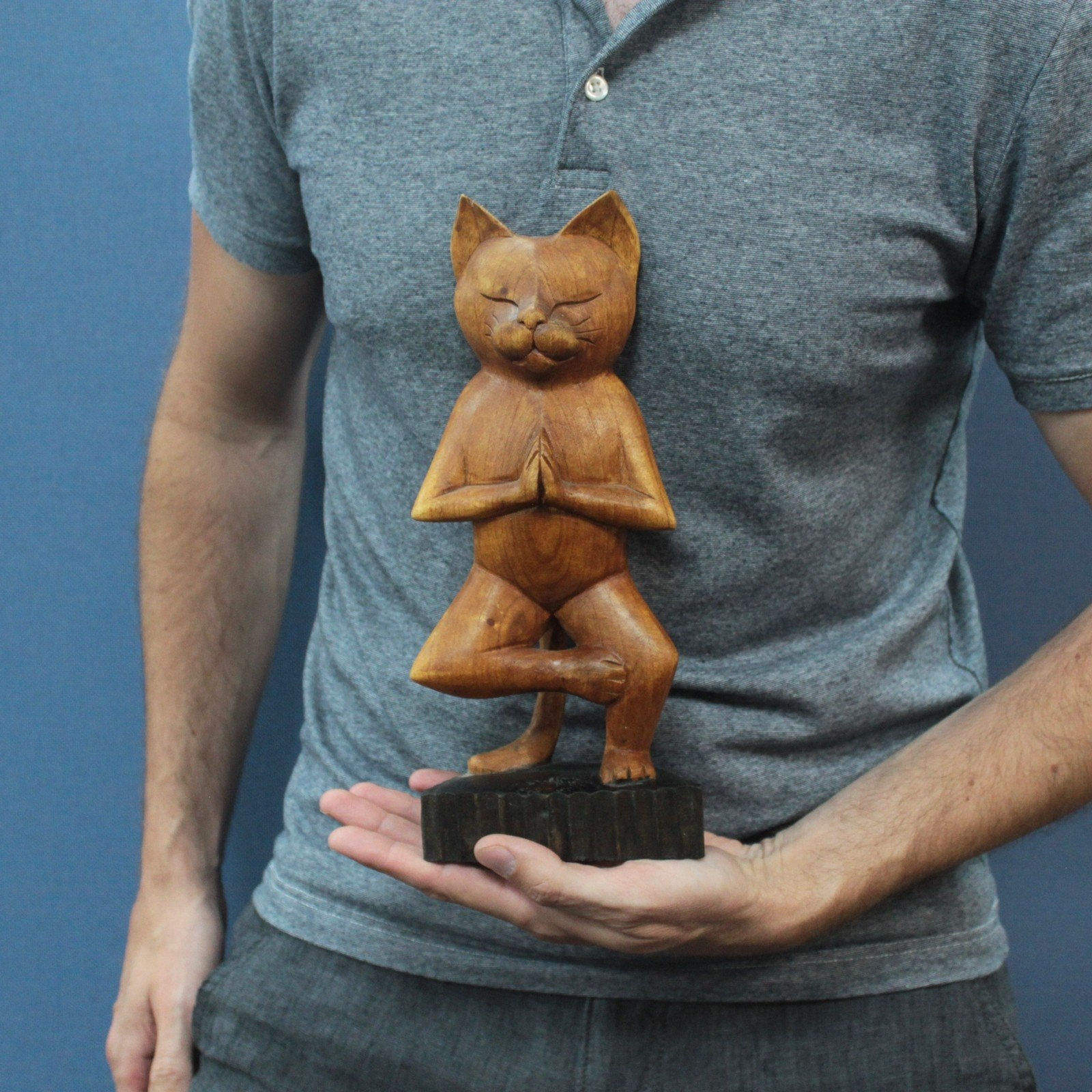 Wooden, Hand-carved Yoga Cat - One Leg Position.