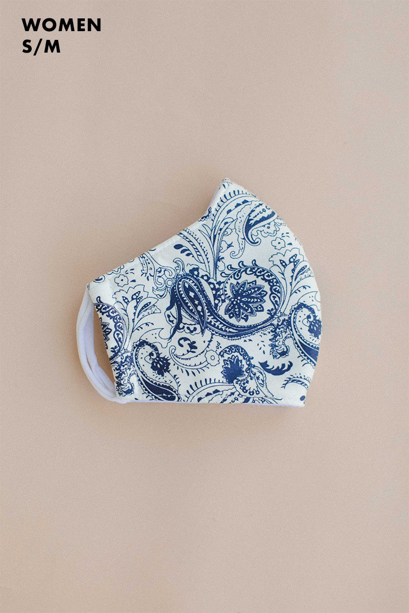 Navy Paisley Adult Mask