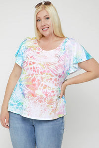 Animal Print Flutter - Tie Dye Curvy Sleeve Top A8