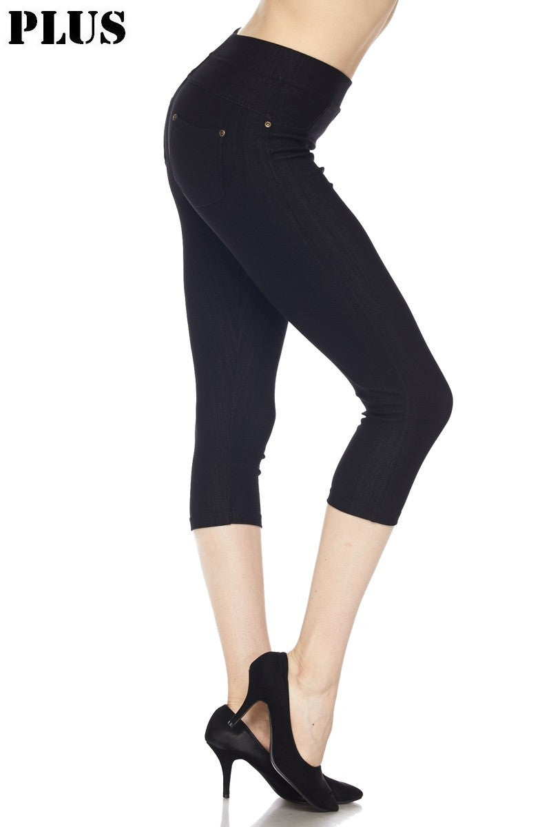 Curvy Denim Capri Leggings A35