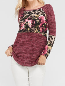 ROSE AND LEOPARD PRINT CONTRAST LONG SLEEVES TOP
