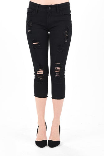 Kancan Black Distressed Capri