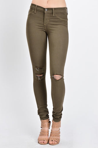 Kancan Jeans - Olive with Knee Distress