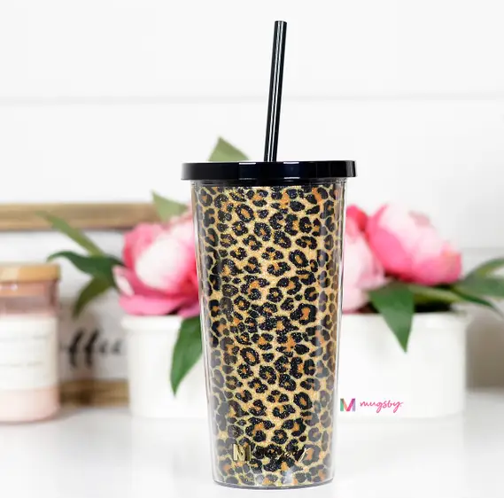 Brown Leopard Tumbler with Straw
