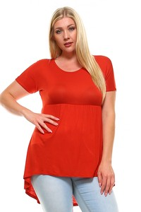 Short Sleeve Tunic Curvy Top  with an Empire Waist A13