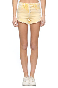 High Rise 5 Button Yellow Shorts