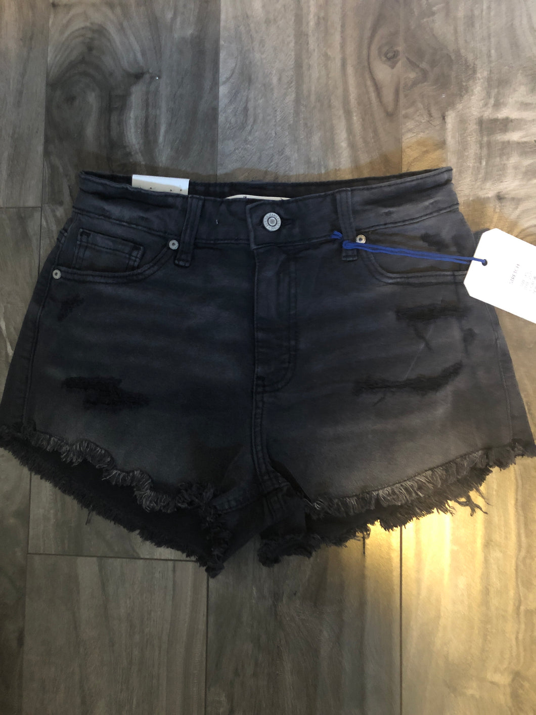 Black Distressed Euinina Shorts