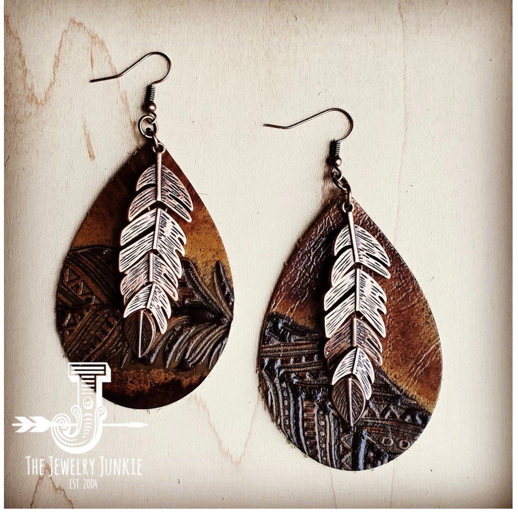Leather Teardrop Earrings in Embossed Tan Feathers with Copper Feather 223o