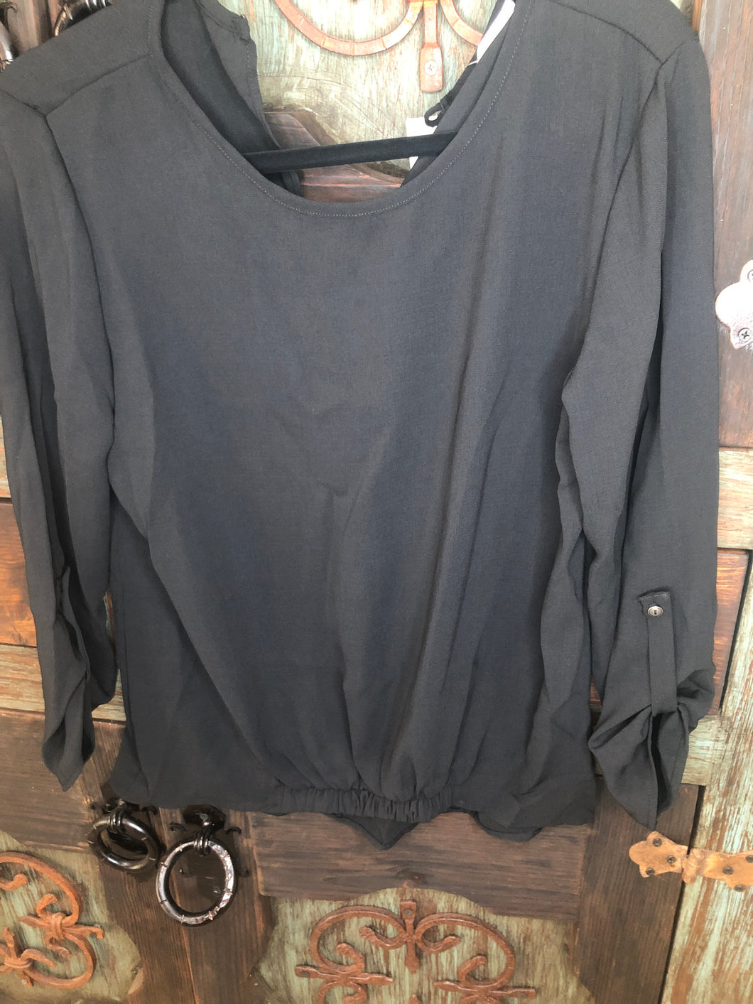 BLACK DRESS TOP WITH ACENT SLEEVES - A2