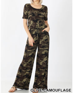 Short sleeve camouflage print jumpsuit - A10