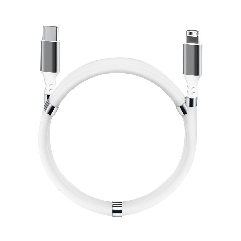 Magnetic Fidget Cable Pearl White USB C - Lightning 0.9 m (3 ft) For Apple