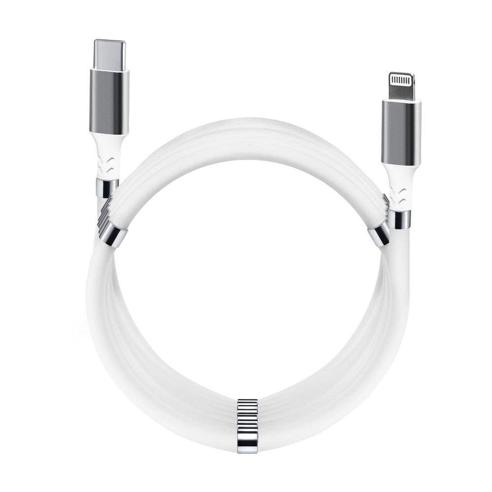Magnetic Fidget Cable Pearl White USB C - Lightning 1.8 m (6 ft) For Apple