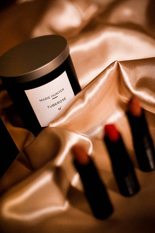 Marie Hunter Beauty lipstick and candle