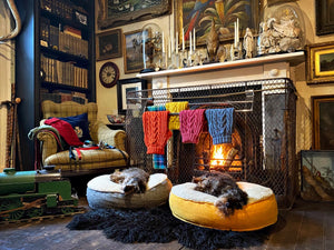 sleeping dogs infront of a fireplace with dog jumpers