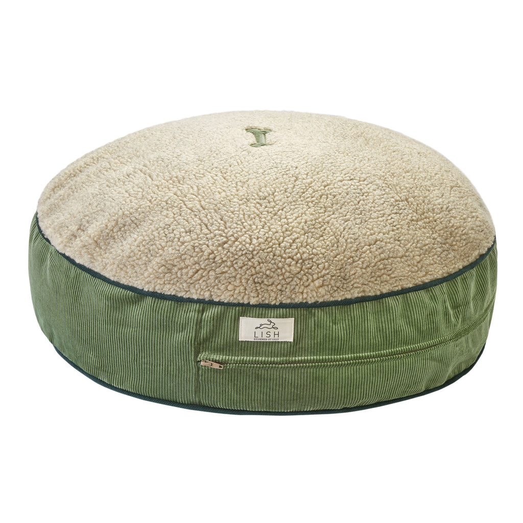 GREEN CORDUROY LUXURY DOG BED BY LISH LONDON DESIGNER PETWEAR