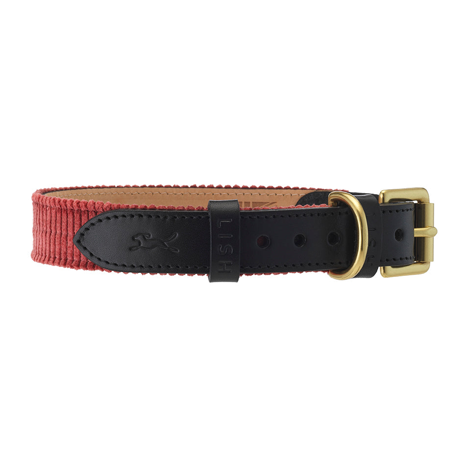 wide wale corduroy pink luxury dog collar with black italian leather
